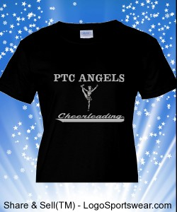 Ladies Black PTC Angel T-shirt Design Zoom